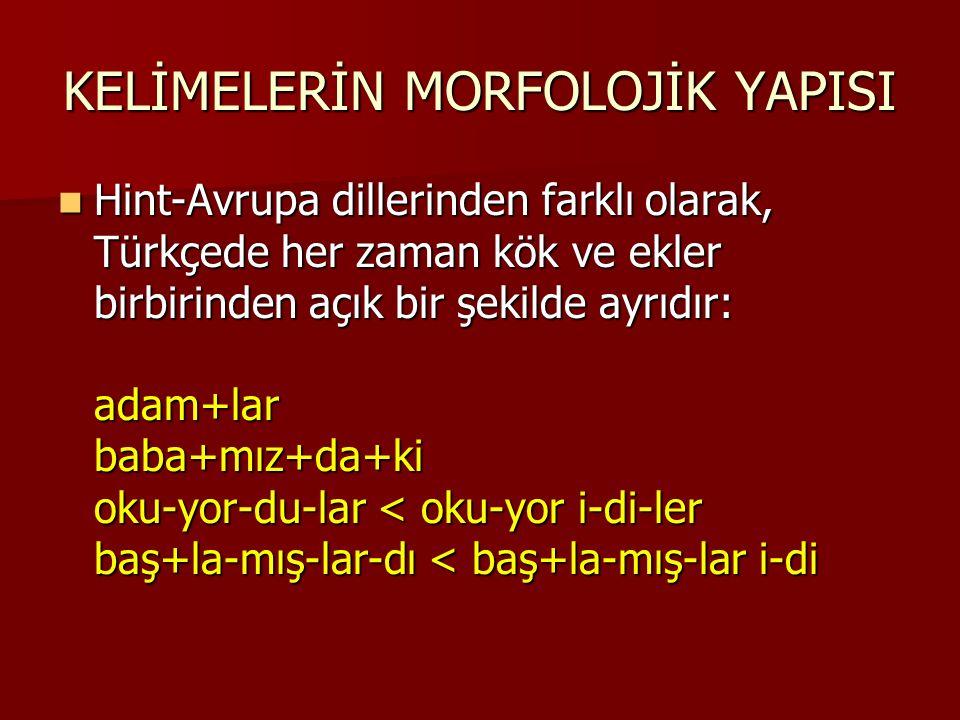 KELİMELERİN MORFOLOJİK YAPISI Hint-Avrupa dillerinden farklı olarak, Türkçede her zaman kök ve ekler birbirinden açık bir şekilde ayrıdır: adam+lar ba