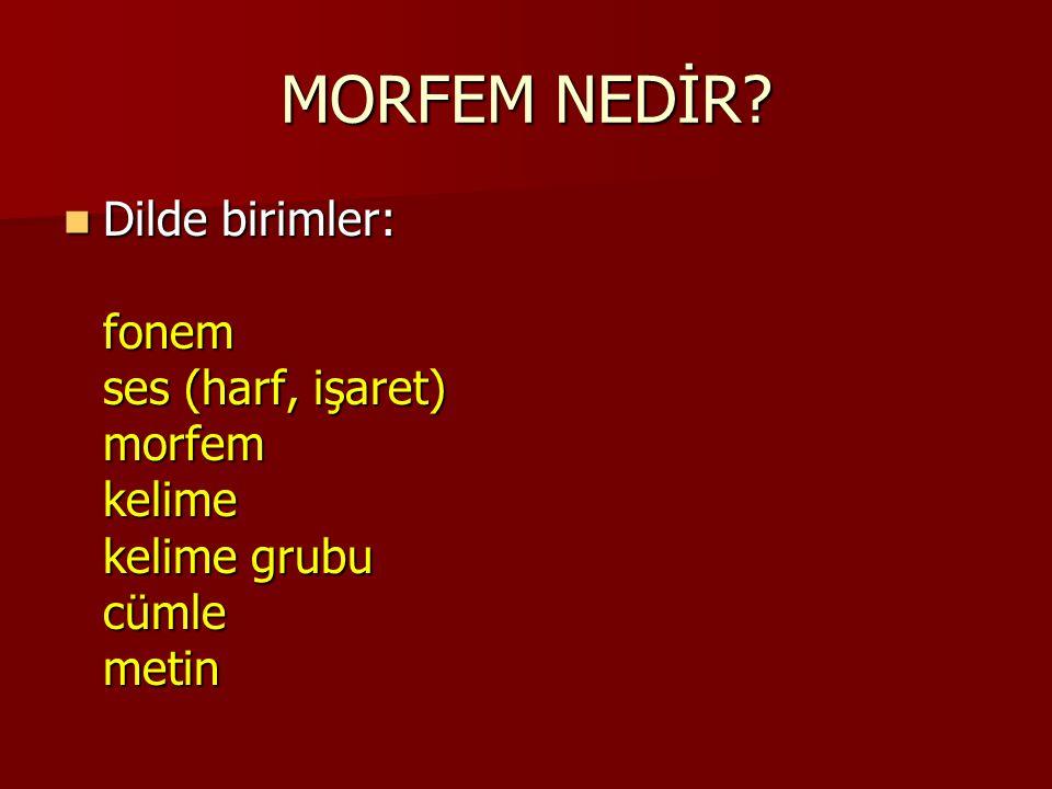 MORFEM NEDİR? Dilde birimler: fonem ses (harf, işaret) morfem kelime kelime grubu cümle metin Dilde birimler: fonem ses (harf, işaret) morfem kelime k
