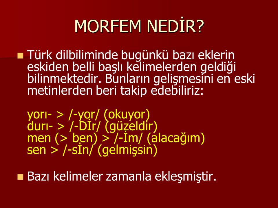 MORFEM NEDİR? Türk dilbiliminde bugünkü bazı eklerin eskiden belli başlı kelimelerden geldiği bilinmektedir. Bunların gelişmesini en eski metinlerden