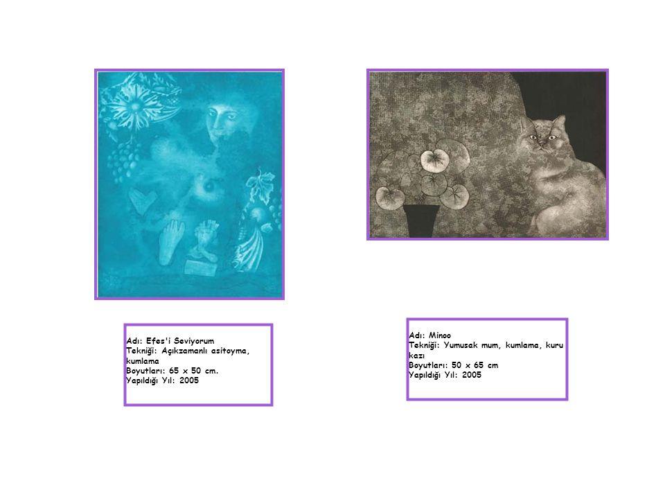 Adı: Efes'i Seviyorum Tekniği: Açıkzamanlı asitoyma, kumlama Boyutları: 65 x 50 cm. Yapıldığı Yıl: 2005 Adı: Minoo Tekniği: Yumusak mum, kumlama, kuru