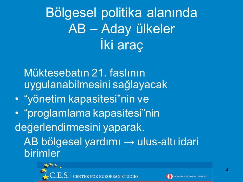 4 Bölgesel politika alanında AB – Aday ülkeler İki araç Müktesebatın 21.