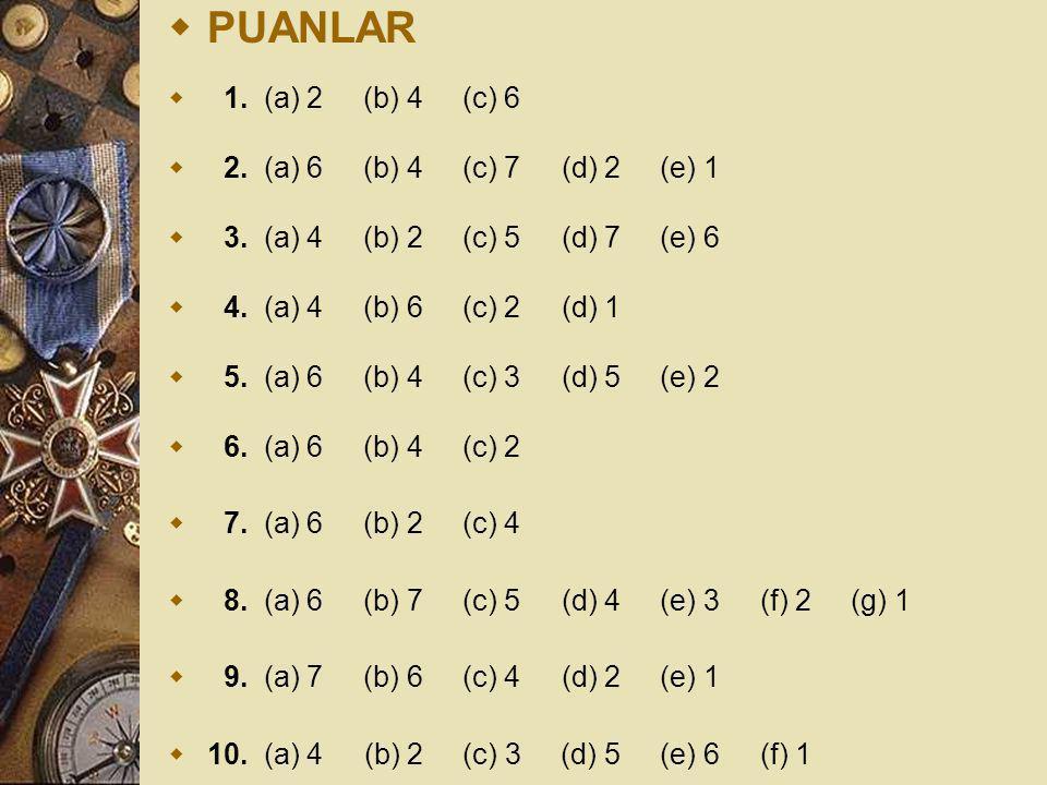  PUANLAR  1. (a) 2 (b) 4 (c) 6  2. (a) 6 (b) 4 (c) 7 (d) 2 (e) 1  3. (a) 4 (b) 2 (c) 5 (d) 7 (e) 6  4. (a) 4 (b) 6 (c) 2 (d) 1  5. (a) 6 (b) 4 (