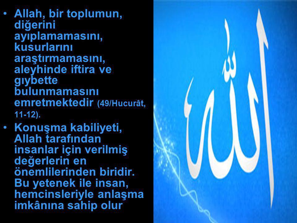 Allah, bir toplumun, diğerini ayıplamamasını, kusurlarını araştırmamasını, aleyhinde iftira ve gıybette bulunmamasını emretmektedir (49/Hucurât, 11-12).