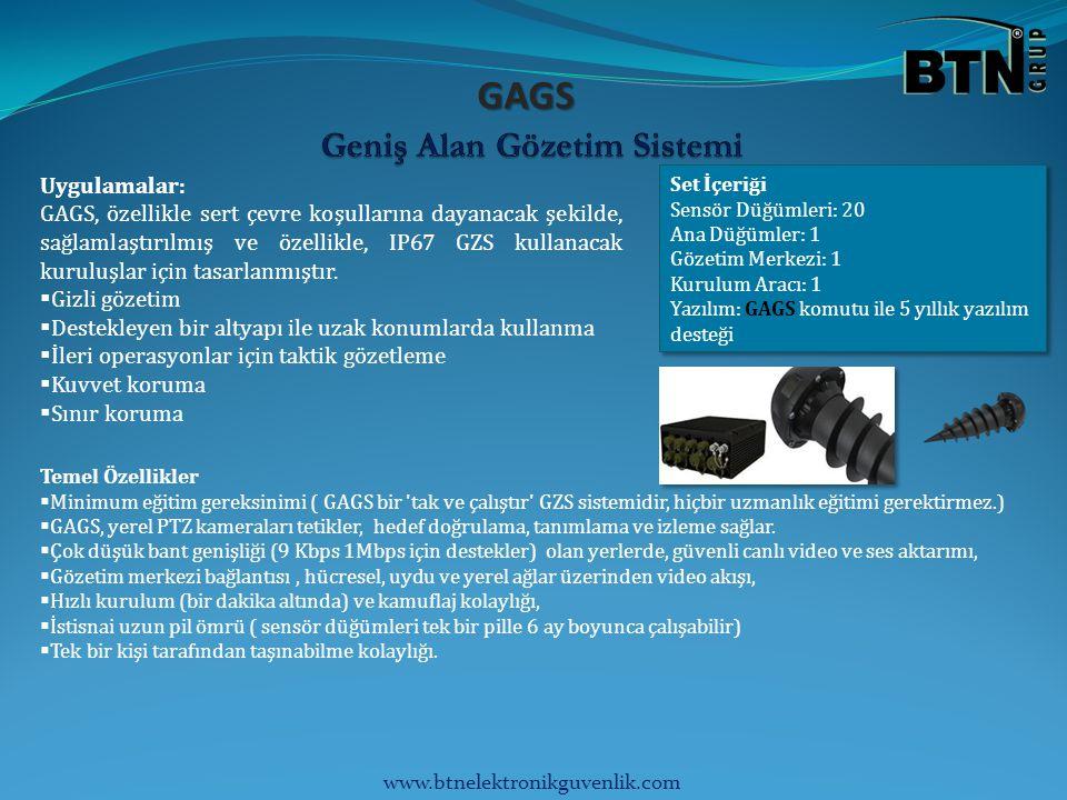GAGS Uygulamalar: GAGS, özellikle sert çevre koşullarına dayanacak şekilde, sağlamlaştırılmış ve özellikle, IP67 GZS kullanacak kuruluşlar için tasarlanmıştır.