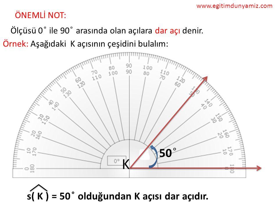 ÖNEMLİ NOT: Ölçüsü 0 ͦ ile 90 ͦ arasında olan açılara dar açı denir.