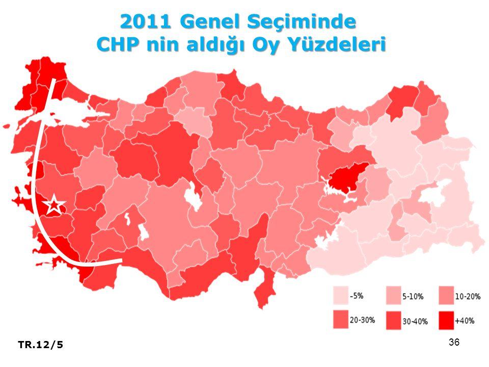 36 2011 Genel Seçiminde CHP nin aldığı Oy Yüzdeleri TR.12/5