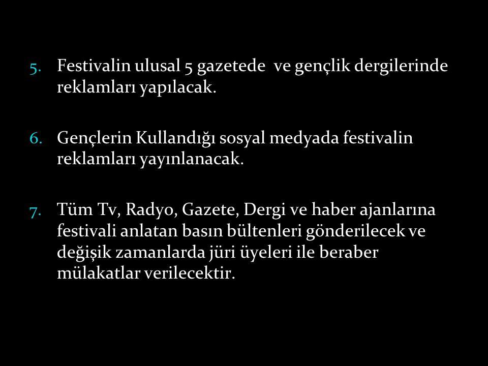 5. Festivalin ulusal 5 gazetede ve gençlik dergilerinde reklamları yapılacak. 6. Gençlerin Kullandığı sosyal medyada festivalin reklamları yayınlanaca