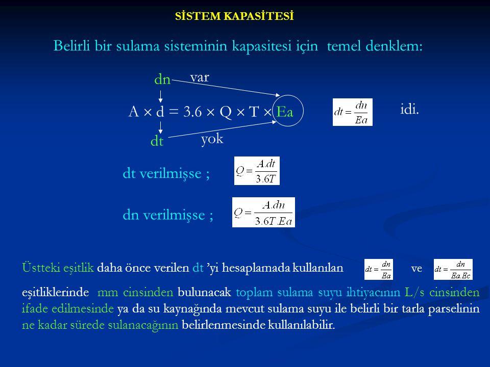 SİSTEM KAPASİTESİ Belirli bir sulama sisteminin kapasitesi için temel denklem: A  d = 3.6  Q  T  Ea dn dt var yok idi. dt verilmişse ; dn verilmiş
