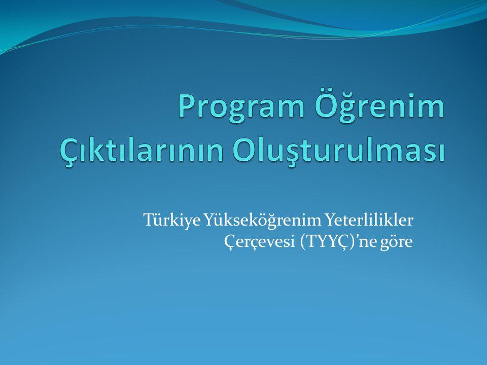 Türkiye Yükseköğrenim Yeterlilikler Çerçevesi (TYYÇ)'ne göre