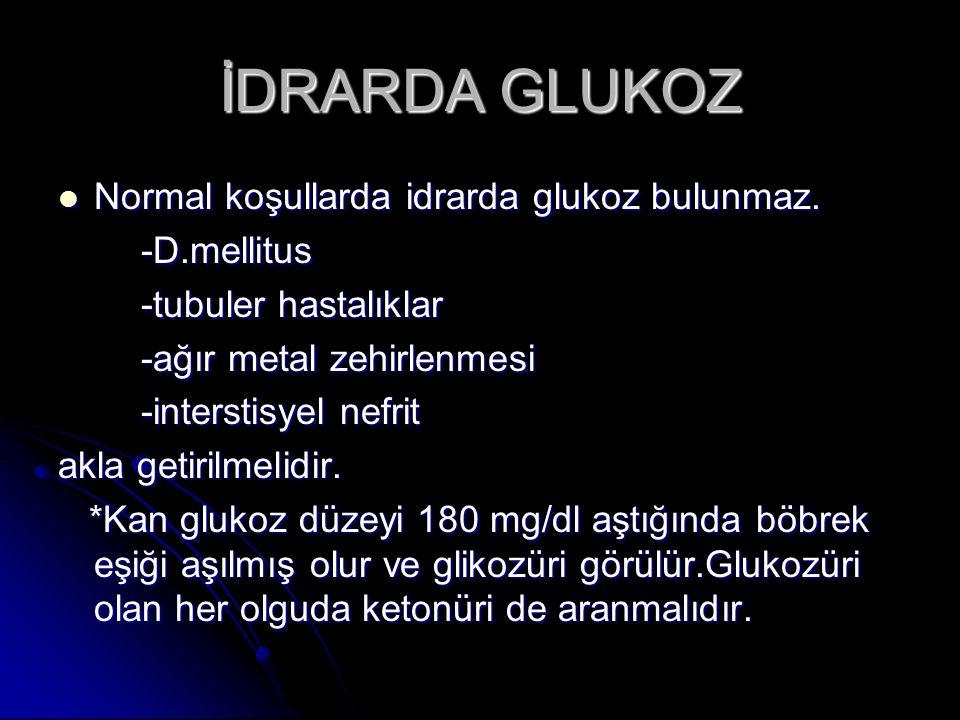 İDRARDA GLUKOZ Normal koşullarda idrarda glukoz bulunmaz. Normal koşullarda idrarda glukoz bulunmaz. -D.mellitus -D.mellitus -tubuler hastalıklar -tub