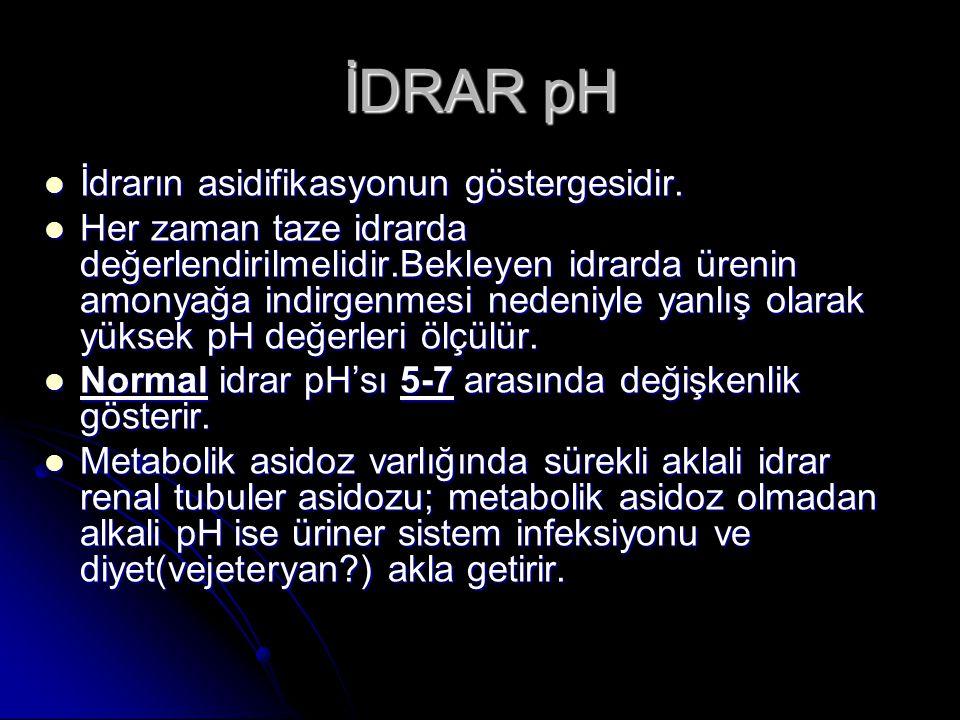 İDRAR pH İdrarın asidifikasyonun göstergesidir. İdrarın asidifikasyonun göstergesidir. Her zaman taze idrarda değerlendirilmelidir.Bekleyen idrarda ür