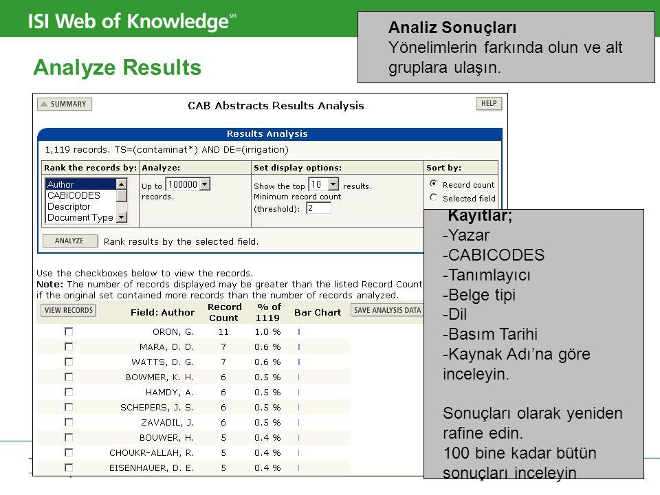 Copyright 2006 Thomson Corporation 19 Analyze Results Analiz Sonuçları Yönelimlerin farkında olun ve alt gruplara ulaşın. Kayıtlar; -Yazar -CABICODES