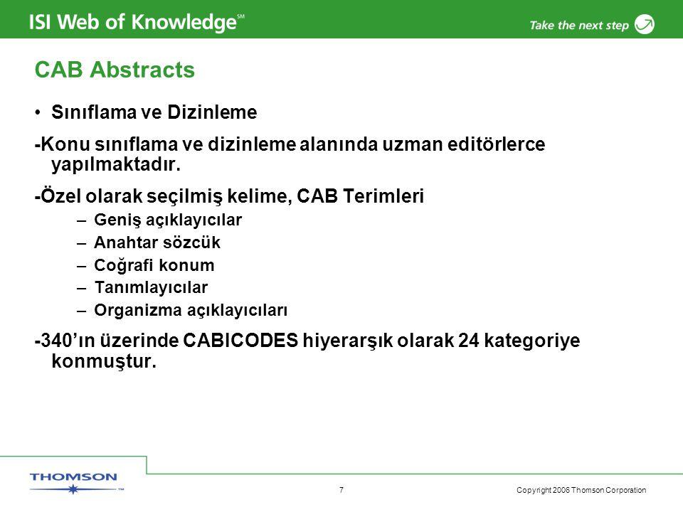 Copyright 2006 Thomson Corporation 8 Türkiye'deki Tarımsal Araştırmadaki Artış