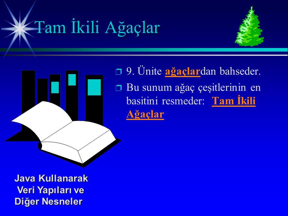 p p 9. Ünite ağaçlardan bahseder. p p Bu sunum ağaç çeşitlerinin en basitini resmeder: Tam İkili Ağaçlar Tam İkili Ağaçlar Java Kullanarak Veri Yapıla