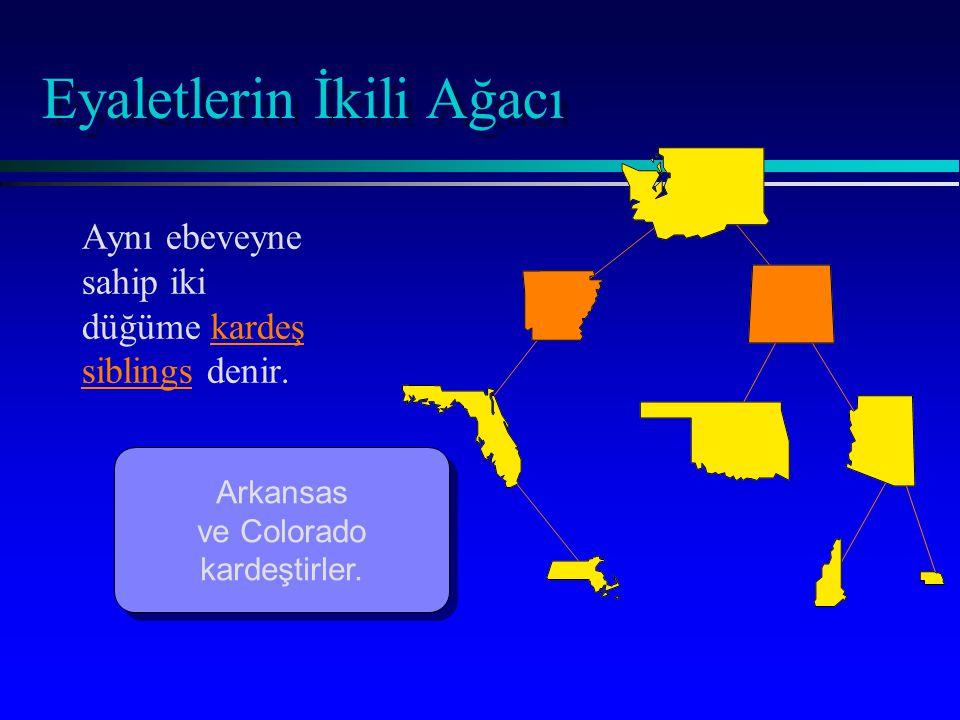 Eyaletlerin İkili Ağacı Aynı ebeveyne sahip iki düğüme kardeş siblings denir. Arkansas ve Colorado kardeştirler. Arkansas ve Colorado kardeştirler.