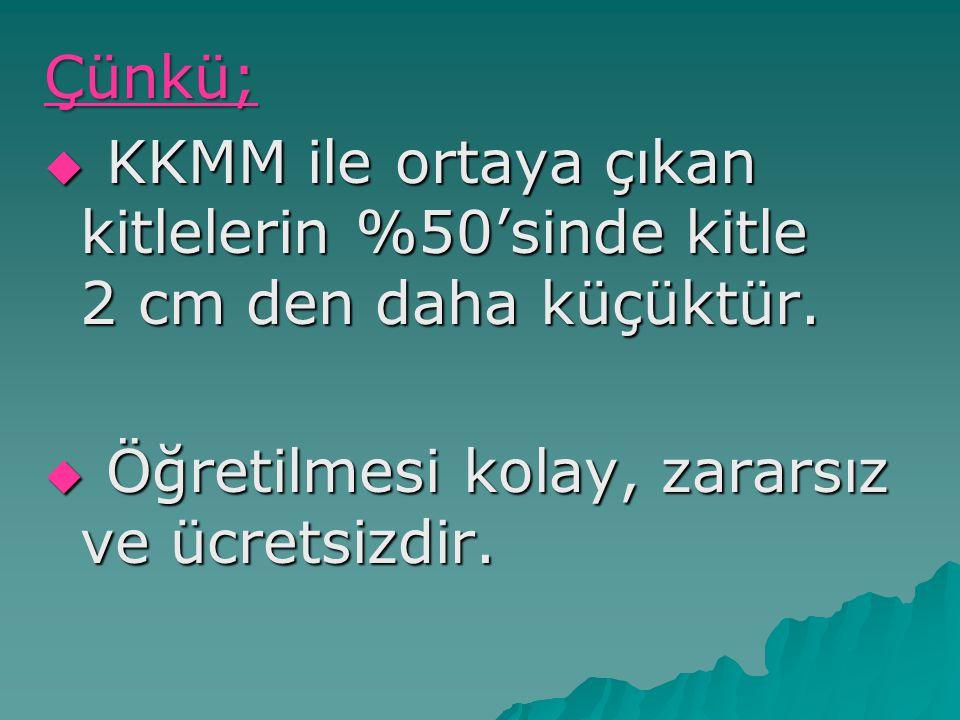 Çünkü;  KKMM ile ortaya çıkan kitlelerin %50'sinde kitle 2 cm den daha küçüktür.  Öğretilmesi kolay, zararsız ve ücretsizdir.