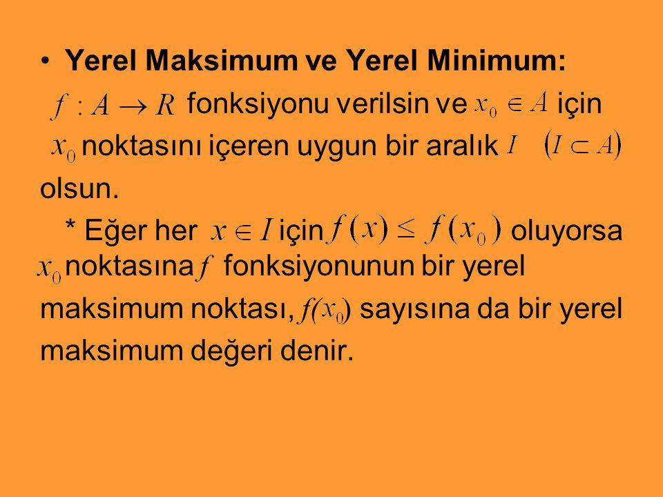Yerel Maksimum ve Yerel Minimum: fonksiyonu verilsin ve için noktasını içeren uygun bir aralık olsun. * Eğer her için oluyorsa noktasına f fonksiyonun