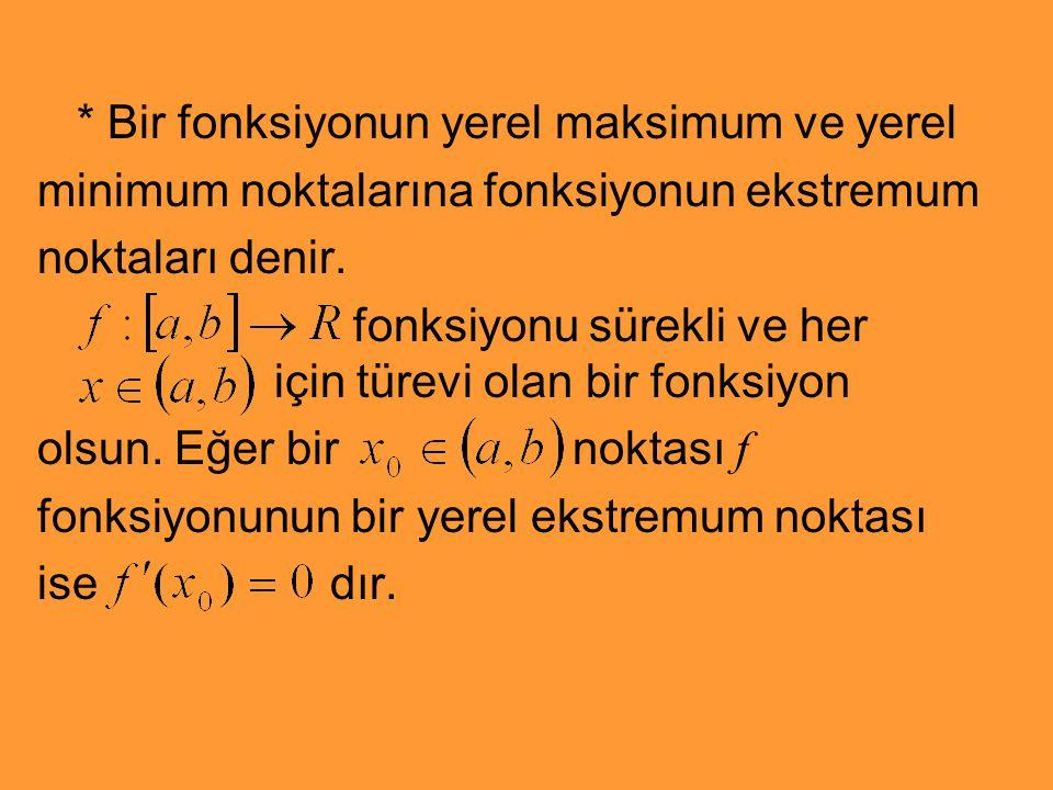 * Bir fonksiyonun yerel maksimum ve yerel minimum noktalarına fonksiyonun ekstremum noktaları denir. fonksiyonu sürekli ve her için türevi olan bir fo
