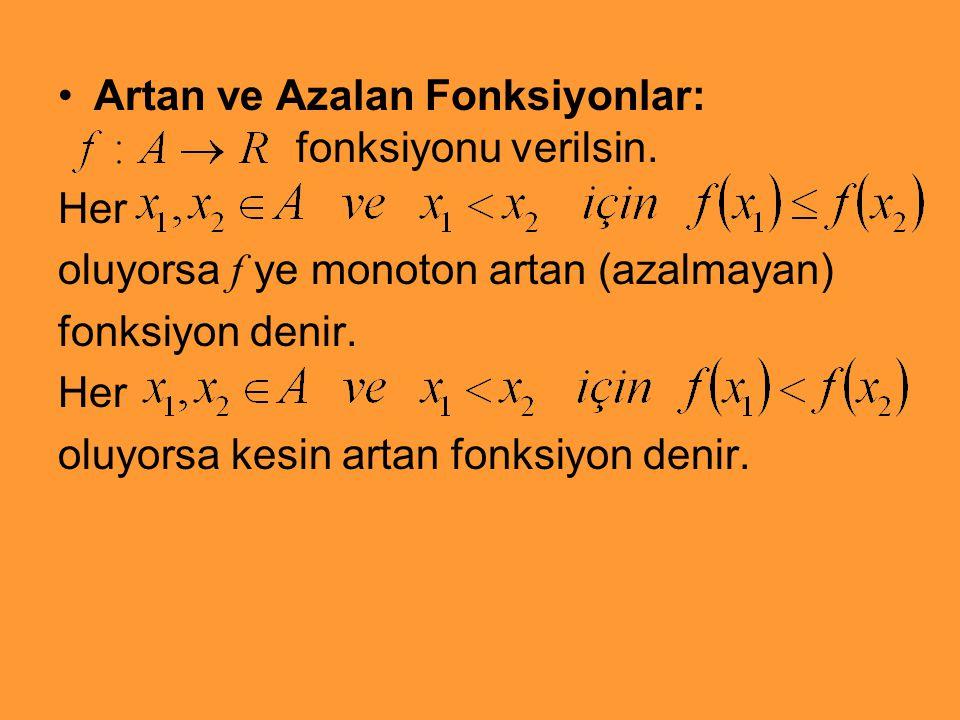 Artan ve Azalan Fonksiyonlar: fonksiyonu verilsin. Her oluyorsa f ye monoton artan (azalmayan) fonksiyon denir. Her oluyorsa kesin artan fonksiyon den