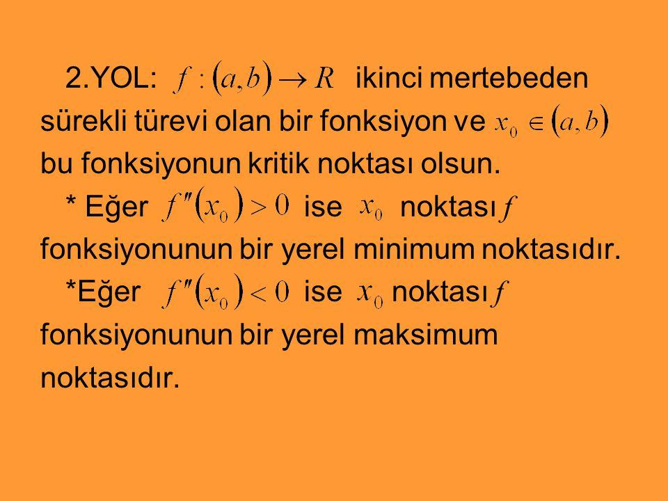 2.YOL: ikinci mertebeden sürekli türevi olan bir fonksiyon ve bu fonksiyonun kritik noktası olsun. * Eğer ise noktası f fonksiyonunun bir yerel minimu