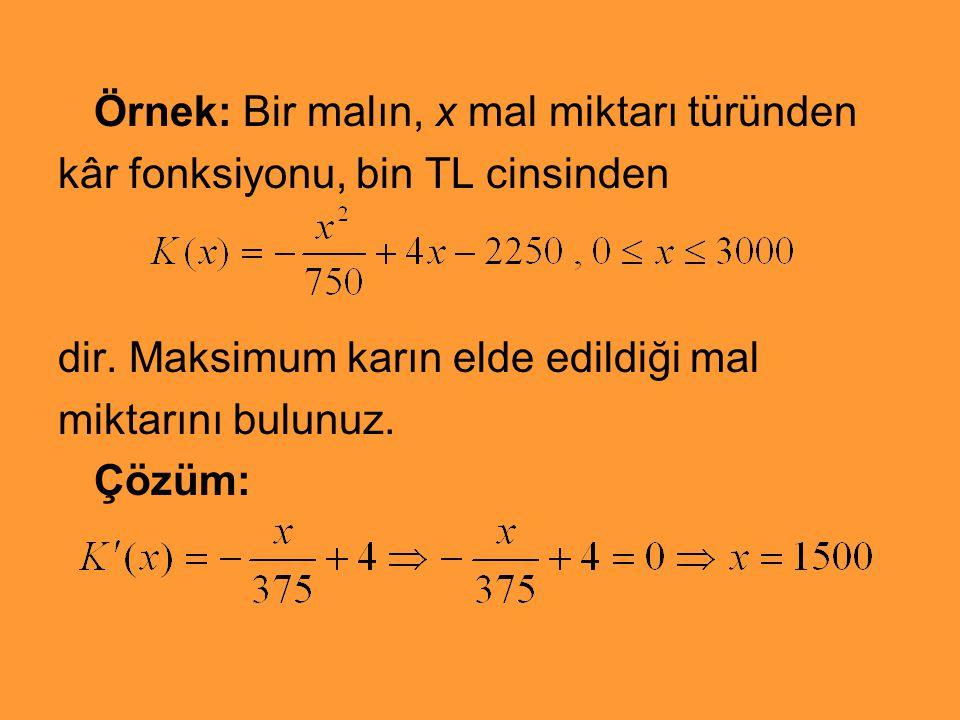 Örnek: Bir malın, x mal miktarı türünden kâr fonksiyonu, bin TL cinsinden dir. Maksimum karın elde edildiği mal miktarını bulunuz. Çözüm: