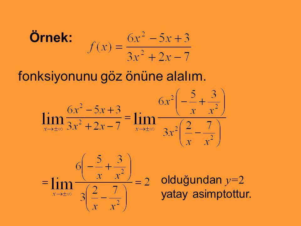 Örnek: fonksiyonunu göz önüne alalım. olduğundan y=2 yatay asimptottur.