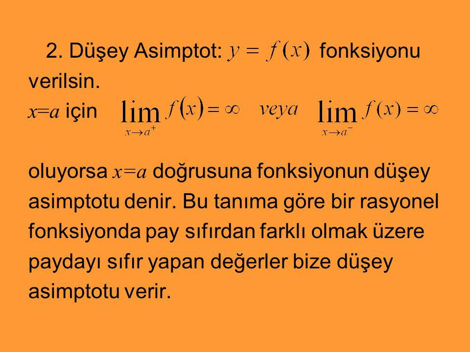2. Düşey Asimptot: fonksiyonu verilsin. x=a için oluyorsa x=a doğrusuna fonksiyonun düşey asimptotu denir. Bu tanıma göre bir rasyonel fonksiyonda pay