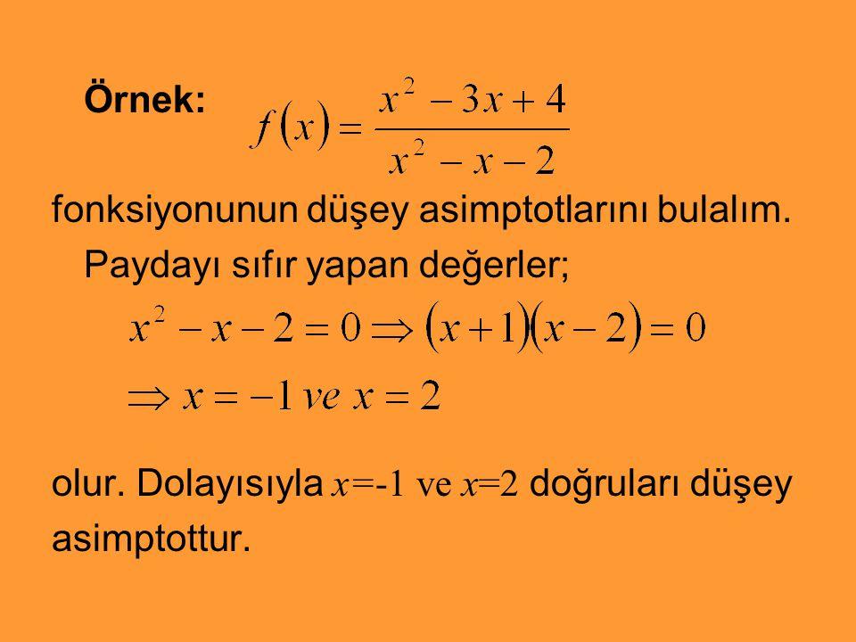Örnek: fonksiyonunun düşey asimptotlarını bulalım. Paydayı sıfır yapan değerler; olur. Dolayısıyla x=-1 ve x=2 doğruları düşey asimptottur.