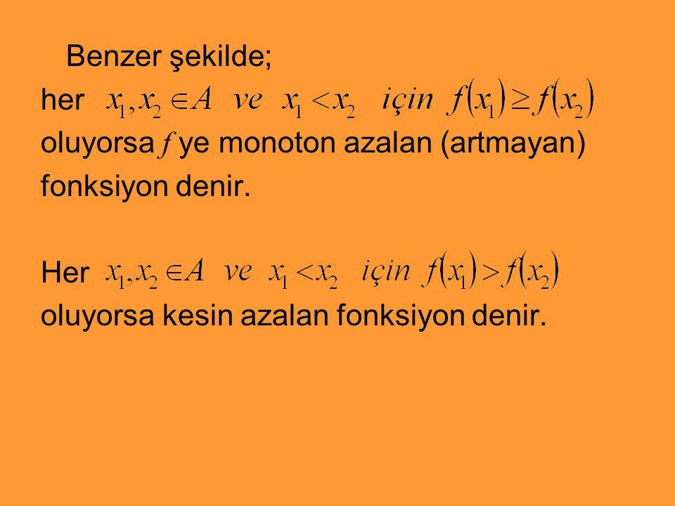 Benzer şekilde; her oluyorsa f ye monoton azalan (artmayan) fonksiyon denir. Her oluyorsa kesin azalan fonksiyon denir.