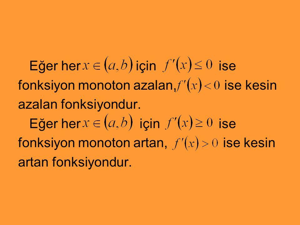 Eğer her için ise fonksiyon monoton azalan, ise kesin azalan fonksiyondur. Eğer her için ise fonksiyon monoton artan, ise kesin artan fonksiyondur.