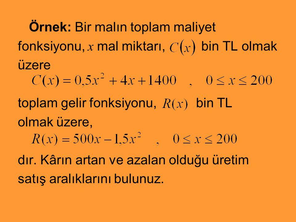 Örnek: Bir malın toplam maliyet fonksiyonu, x mal miktarı, bin TL olmak üzere toplam gelir fonksiyonu, bin TL olmak üzere, dır. Kârın artan ve azalan