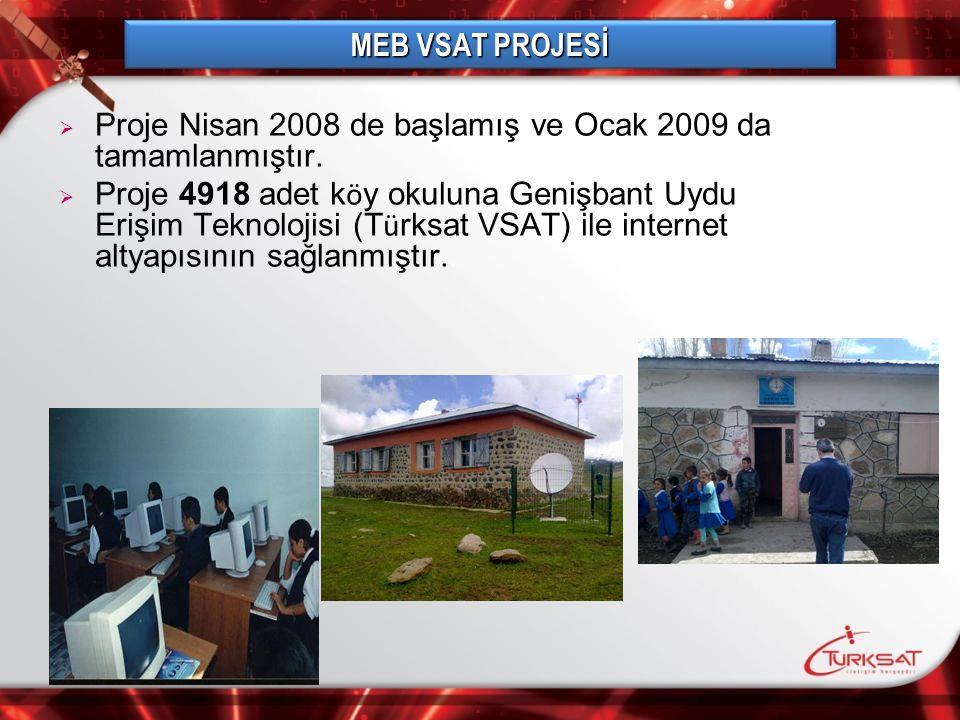   Proje Nisan 2008 de başlamış ve Ocak 2009 da tamamlanmıştır.   Proje 4918 adet k ö y okuluna Genişbant Uydu Erişim Teknolojisi (T ü rksat VSAT)