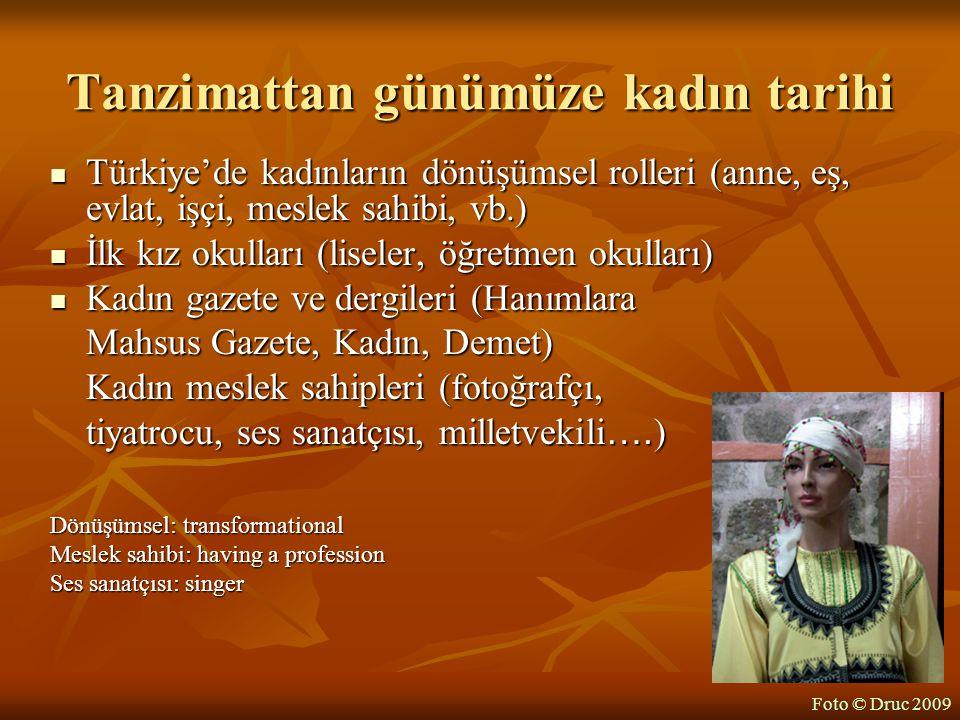 Tanzimattan günümüze kadın tarihi Türkiye'de kadınların dönüşümsel rolleri (anne, eş, evlat, işçi, meslek sahibi, vb.) Türkiye'de kadınların dönüşümse