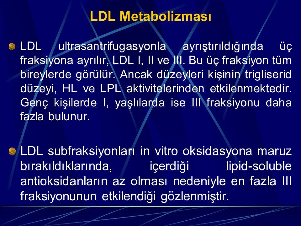 LDL Metabolizması LDL ultrasantrifugasyonla ayrıştırıldığında üç fraksiyona ayrılır, LDL I, II ve III. Bu üç fraksiyon tüm bireylerde görülür. Ancak d