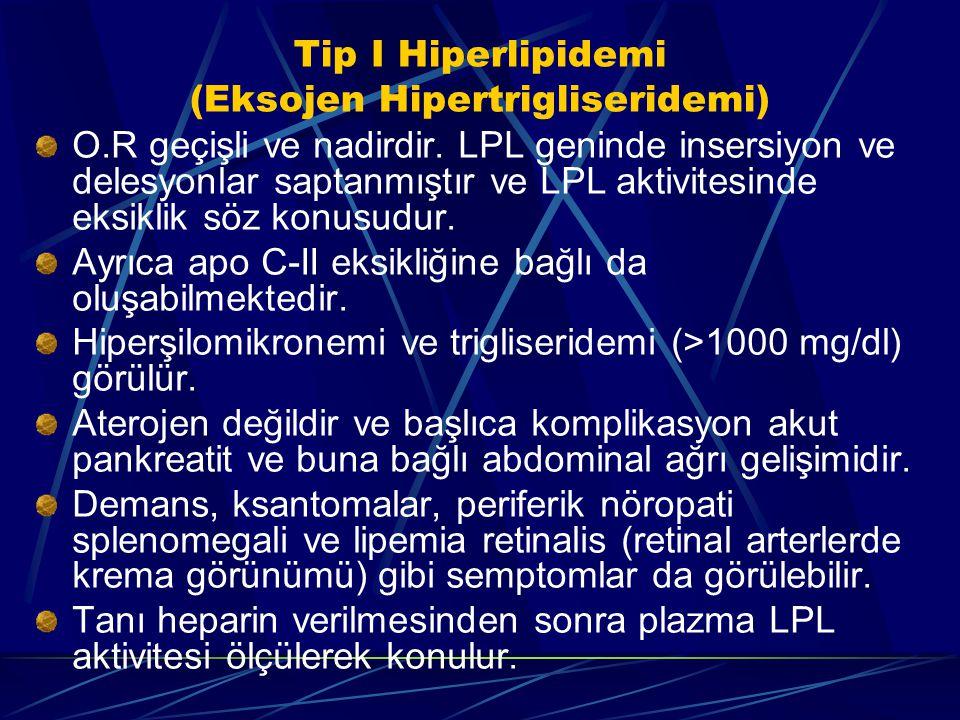 Tip I Hiperlipidemi (Eksojen Hipertrigliseridemi) O.R geçişli ve nadirdir. LPL geninde insersiyon ve delesyonlar saptanmıştır ve LPL aktivitesinde eks