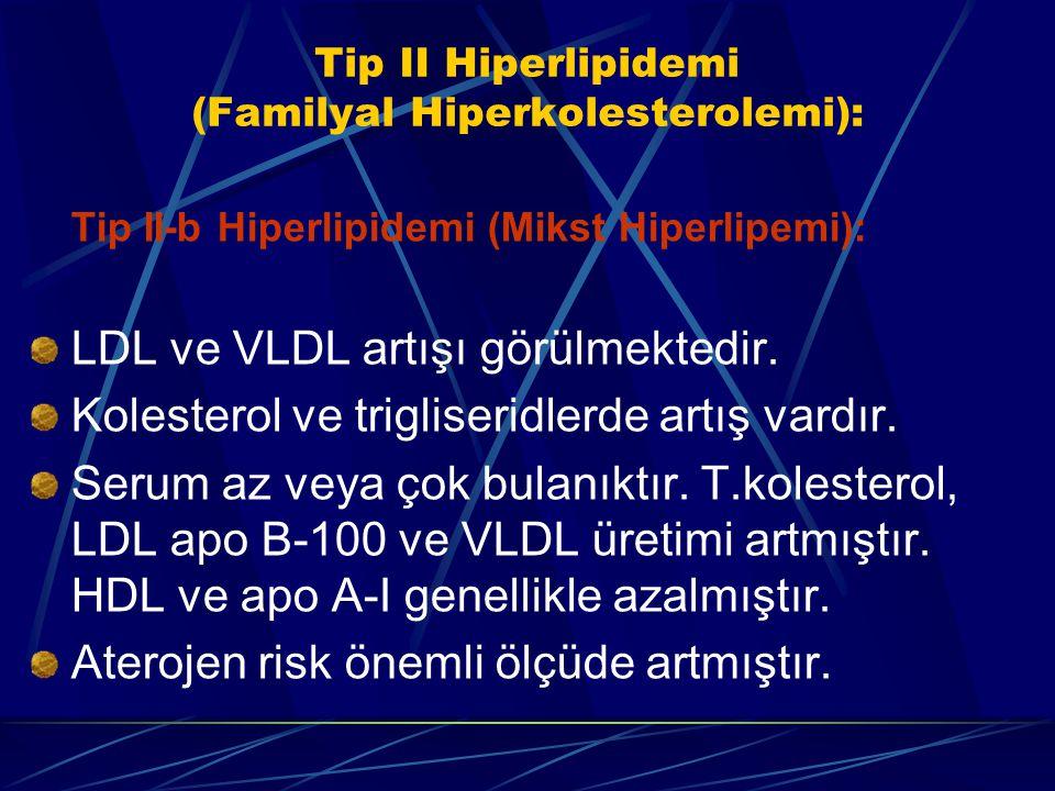 Tip II Hiperlipidemi (Familyal Hiperkolesterolemi): Tip II-b Hiperlipidemi (Mikst Hiperlipemi): LDL ve VLDL artışı görülmektedir. Kolesterol ve trigli