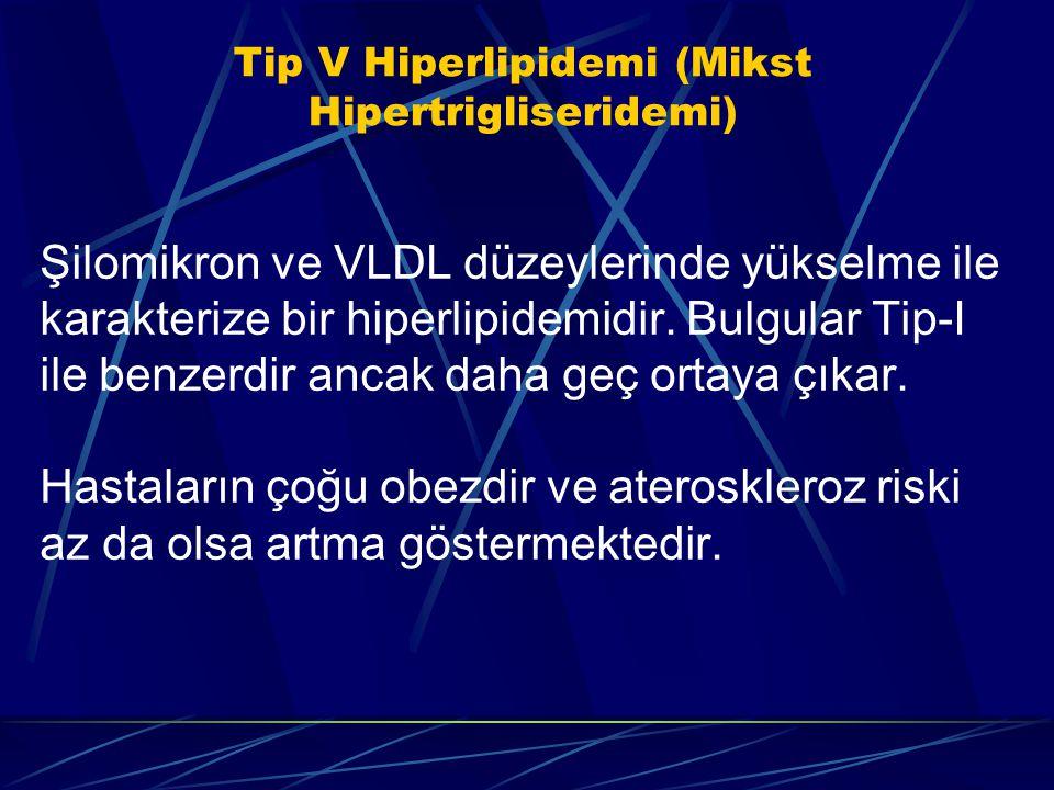 Tip V Hiperlipidemi (Mikst Hipertrigliseridemi) Şilomikron ve VLDL düzeylerinde yükselme ile karakterize bir hiperlipidemidir. Bulgular Tip-I ile benz