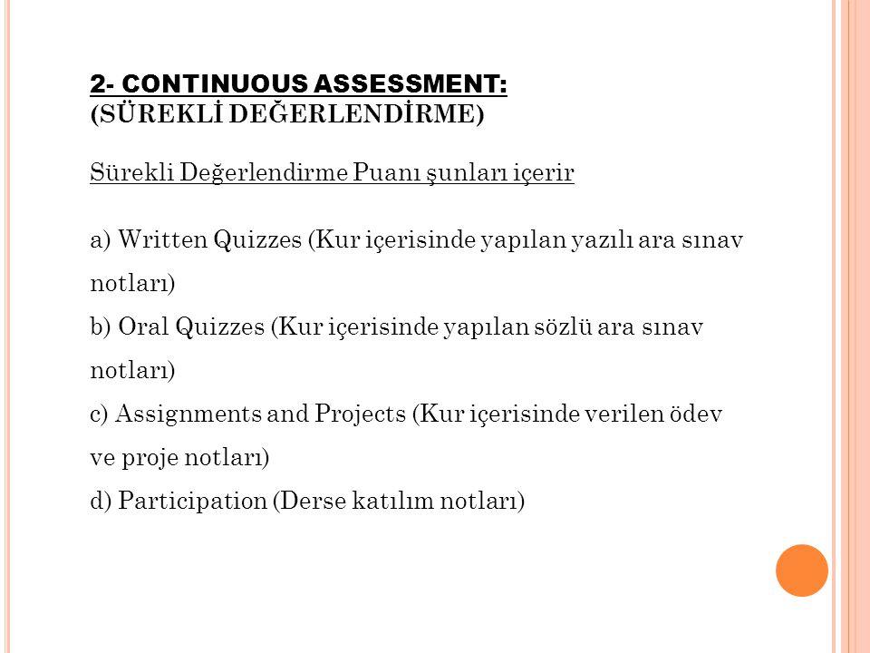 2- CONTINUOUS ASSESSMENT: (SÜREKLİ DEĞERLENDİRME) Sürekli Değerlendirme Puanı şunları içerir a) Written Quizzes (Kur içerisinde yapılan yazılı ara sın