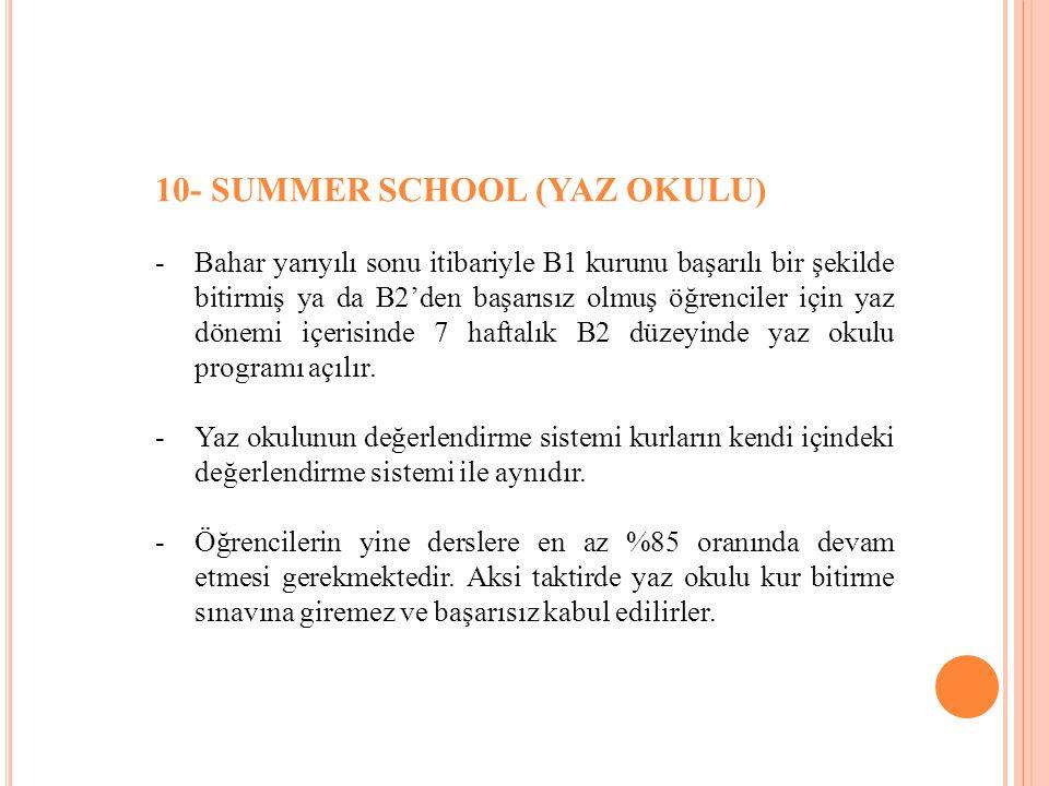 10- SUMMER SCHOOL (YAZ OKULU) -Bahar yarıyılı sonu itibariyle B1 kurunu başarılı bir şekilde bitirmiş ya da B2'den başarısız olmuş öğrenciler için yaz