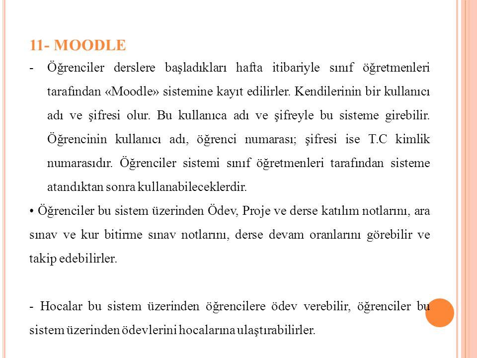 11- MOODLE -Öğrenciler derslere başladıkları hafta itibariyle sınıf öğretmenleri tarafından «Moodle» sistemine kayıt edilirler. Kendilerinin bir kulla