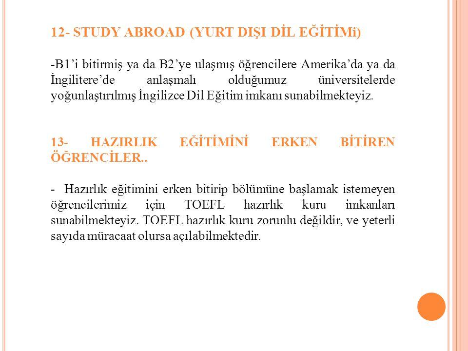 12- STUDY ABROAD (YURT DIŞI DİL EĞİTİMi) -B1'i bitirmiş ya da B2'ye ulaşmış öğrencilere Amerika'da ya da İngilitere'de anlaşmalı olduğumuz üniversitel