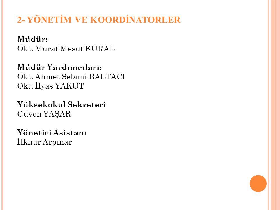 2- YÖNETİM VE KOORDİNATORLER Müdür: Okt. Murat Mesut KURAL Müdür Yardımcıları: Okt. Ahmet Selami BALTACI Okt. İlyas YAKUT Yüksekokul Sekreteri Güven Y