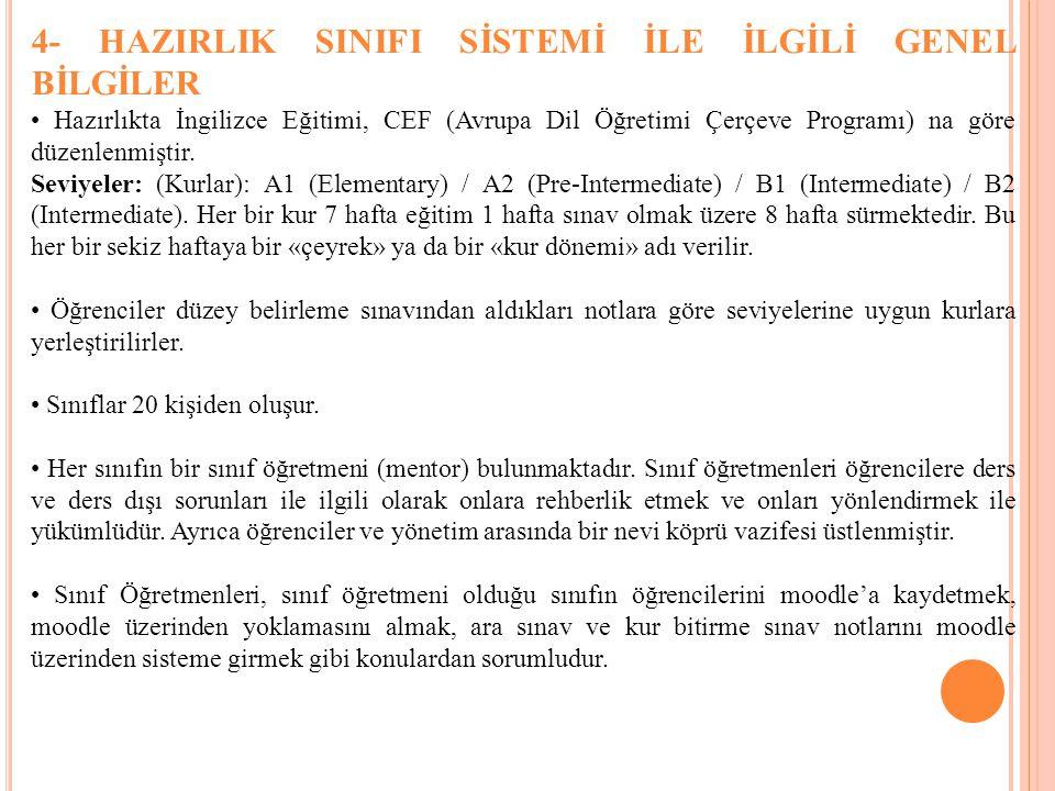 4- HAZIRLIK SINIFI SİSTEMİ İLE İLGİLİ GENEL BİLGİLER Hazırlıkta İngilizce Eğitimi, CEF (Avrupa Dil Öğretimi Çerçeve Programı) na göre düzenlenmiştir.