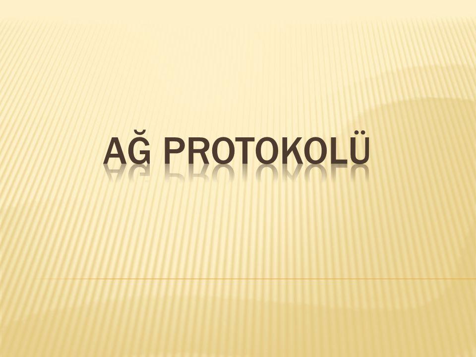 AĞ PROTOKOLLERİ Ağ protokolleri, ağa bağlı bilgisayarların birbirleriyle haberleşmekte kullandıkları dillerdir.Bilgisayarlar içinde ortak bir dile gereksinim vardır.İnternette konuşulan dilin adı TCP/IP protokolüdür.