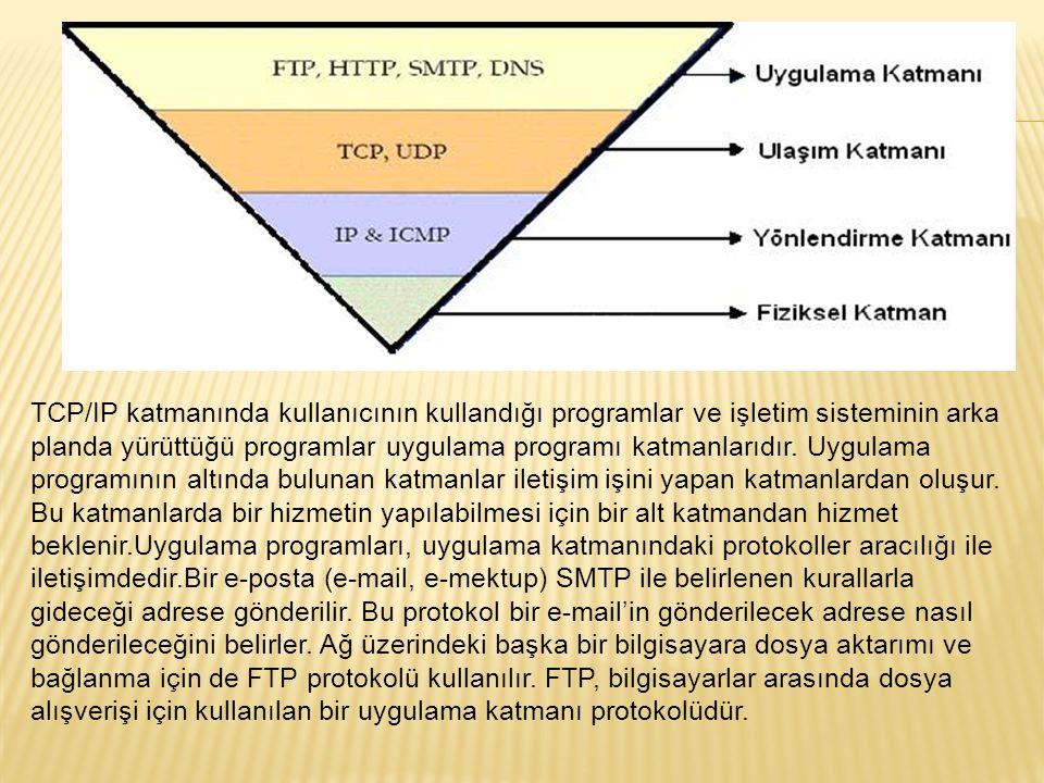 TCP/IP katmanında kullanıcının kullandığı programlar ve işletim sisteminin arka planda yürüttüğü programlar uygulama programı katmanlarıdır. Uygulama