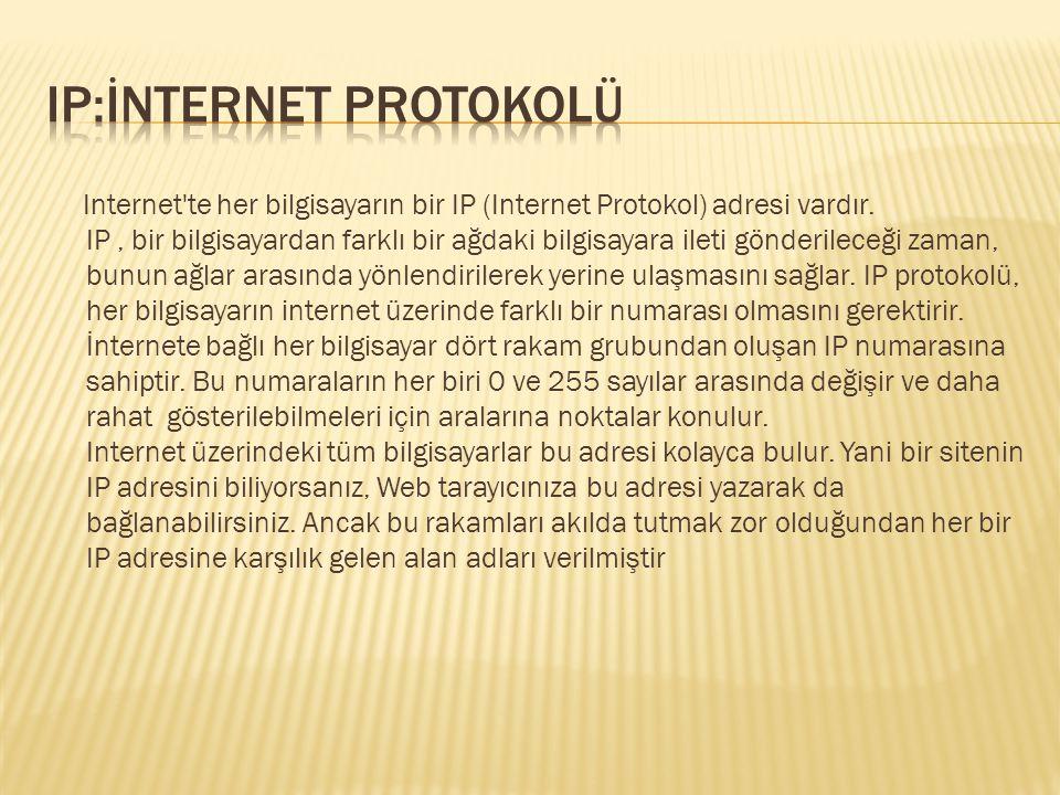 Internet'te her bilgisayarın bir IP (Internet Protokol) adresi vardır. IP, bir bilgisayardan farklı bir ağdaki bilgisayara ileti gönderileceği zaman,