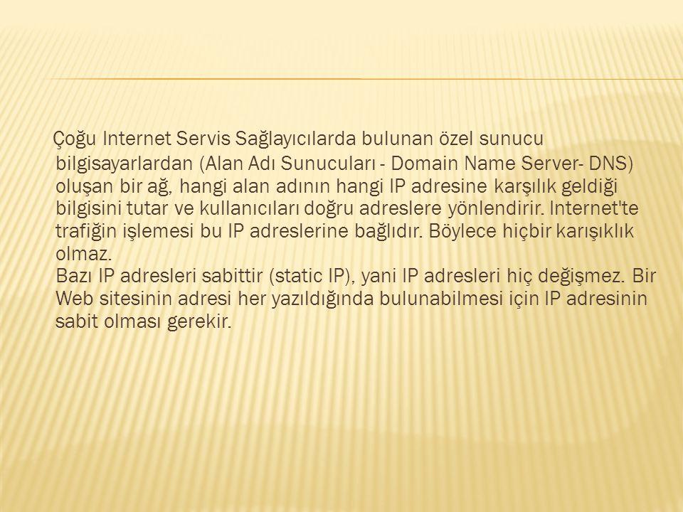 Çoğu Internet Servis Sağlayıcılarda bulunan özel sunucu bilgisayarlardan (Alan Adı Sunucuları - Domain Name Server- DNS) oluşan bir ağ, hangi alan adı