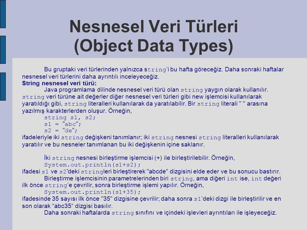 Nesnesel Veri Türleri (Object Data Types) Bu gruptaki veri türlerinden yalnızca s tring 'i bu hafta göreceğiz. Daha sonraki haftalar nesnesel veri tür