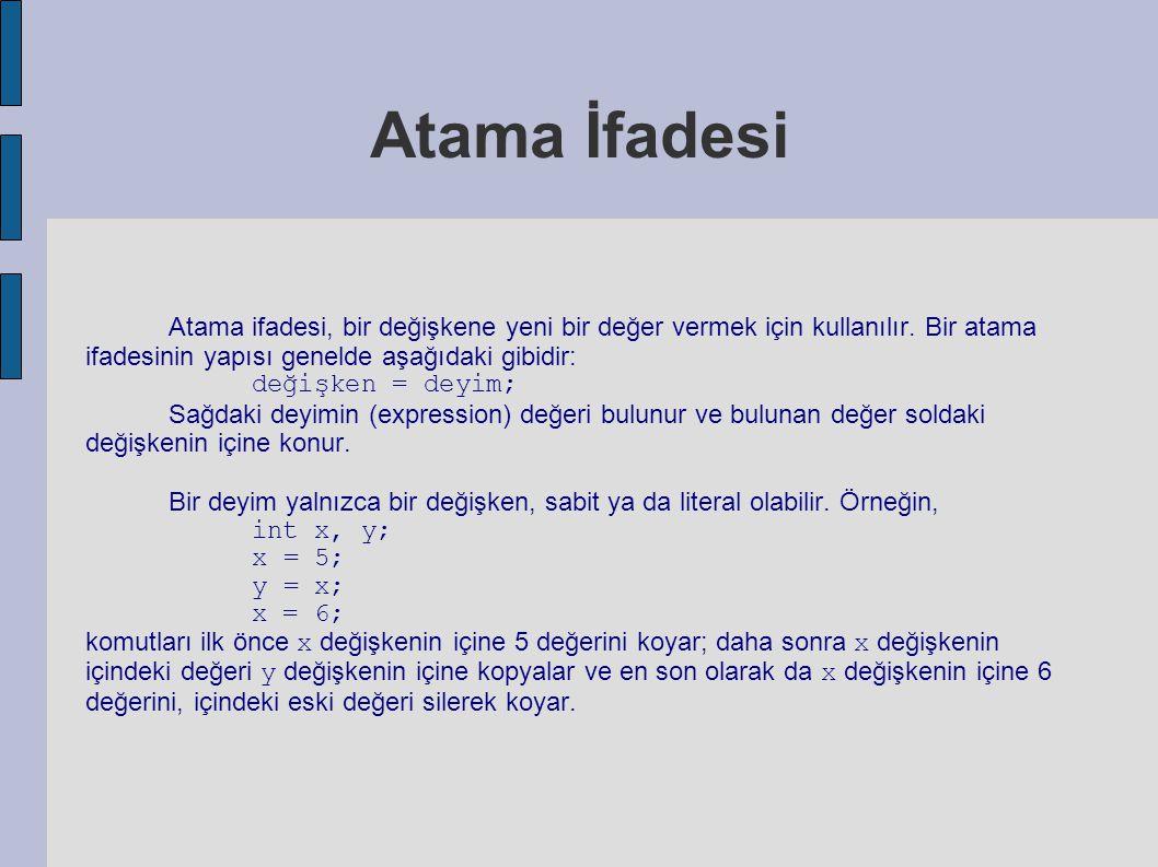 Atama İfadesi Atama ifadesi, bir değişkene yeni bir değer vermek için kullanılır. Bir atama ifadesinin yapısı genelde aşağıdaki gibidir: değişken = de