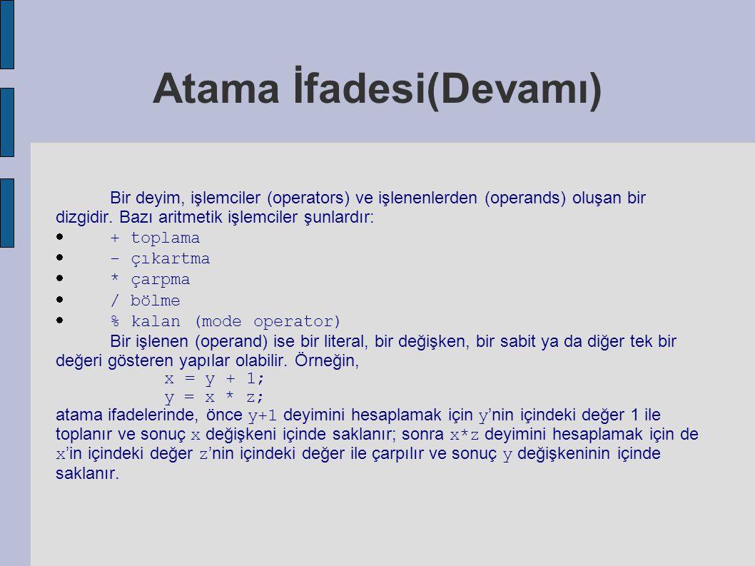 Atama İfadesi(Devamı) Bir deyim, işlemciler (operators) ve işlenenlerden (operands) oluşan bir dizgidir. Bazı aritmetik işlemciler şunlardır:  + topl
